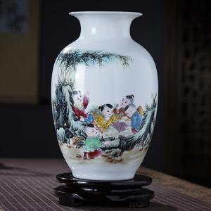 景德镇陶瓷器小花瓶粉彩新中式客厅家居装饰品工艺品插花干花摆件