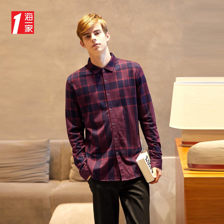海一家品牌热卖时尚暗红格纹质感商务休闲长袖针织衬衫男