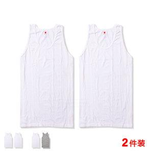hanes恒适背心男纯棉宽松无袖夏跨栏白色打底汗衫MUM822正品2件装