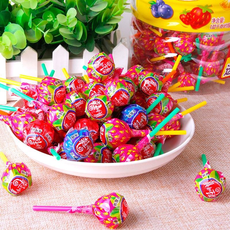 真知棒桶装美味什锦水果味108支儿童怀旧喜糖糖果休闲零食
