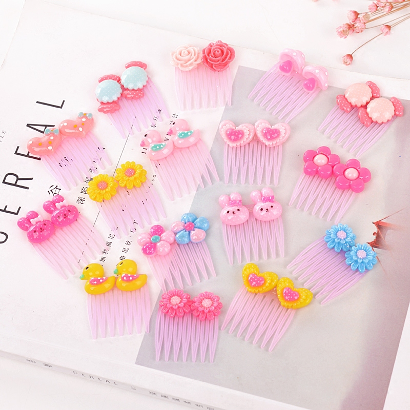 小号刘海发梳韩国女童插梳发饰宝宝发夹迷你卡通可爱儿童粉色发卡