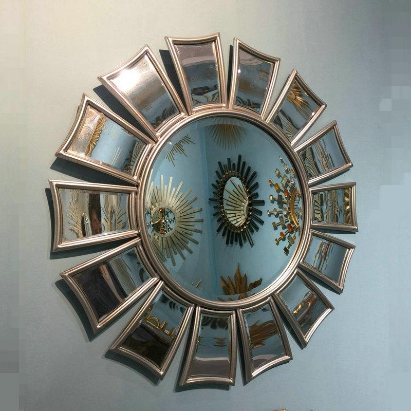 美式铁艺太阳装饰镜金属复古金壁挂圆形镜子客厅餐厅背景墙玄关镜