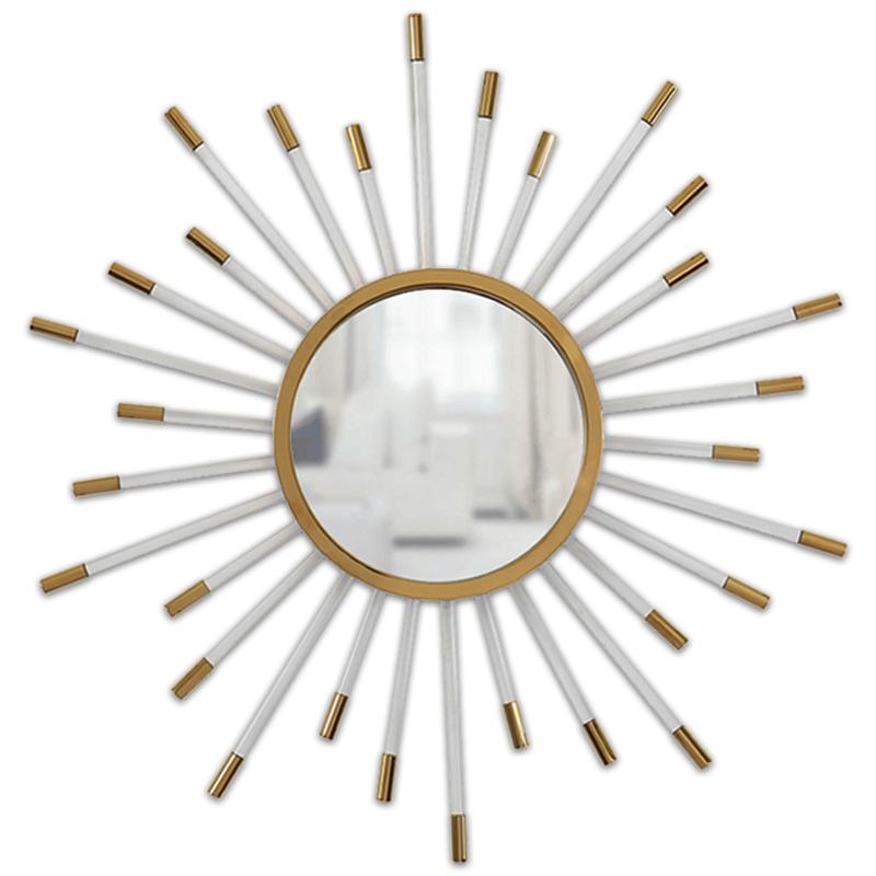轻奢圆镜不锈钢黄铜金色透明亚克力太阳装饰镜子客厅玄关壁挂镜子