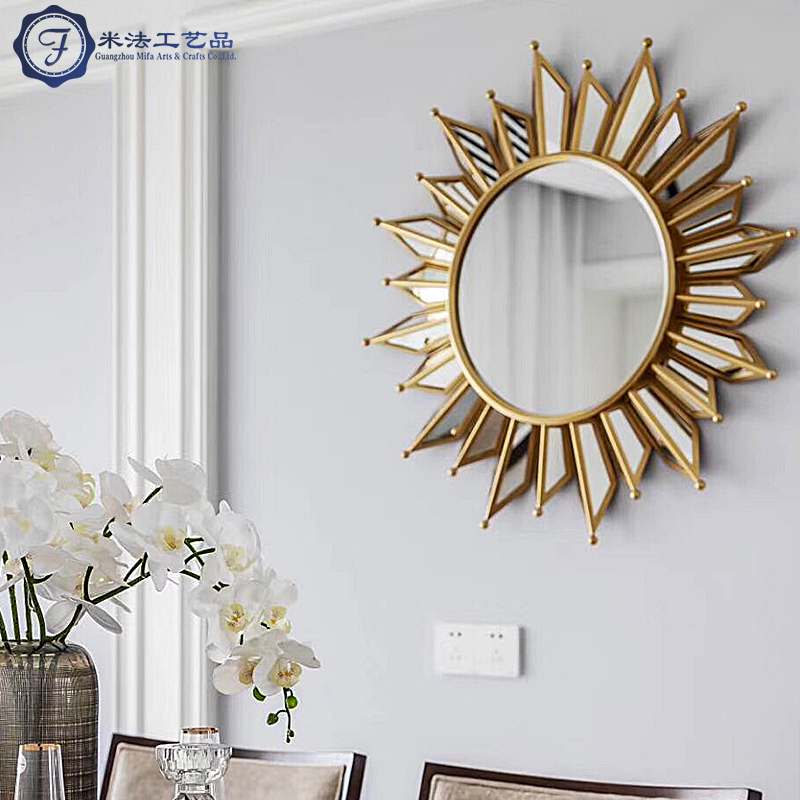 American iron art sun round mirror wall mounted Nordic fireplace mirror living room dining room background wall porch decorative mirror