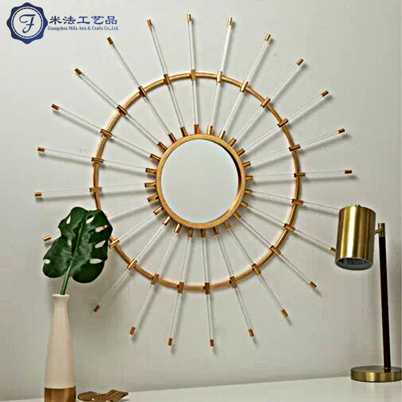 Ins light luxury round sun decoration mirror wall hanging mirror stainless steel gilded transparent acrylic living room porch mirror