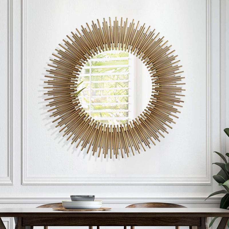 美式圆形太阳装饰镜金属玄关镜软装设计师样板间客厅餐厅壁挂镜子