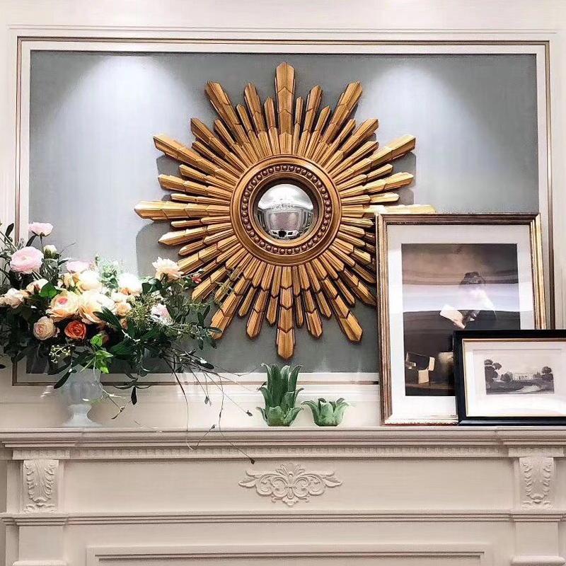 美式装饰镜圆形复古金色太阳镜北欧网红客厅玄关镜餐厅壁挂墙镜子