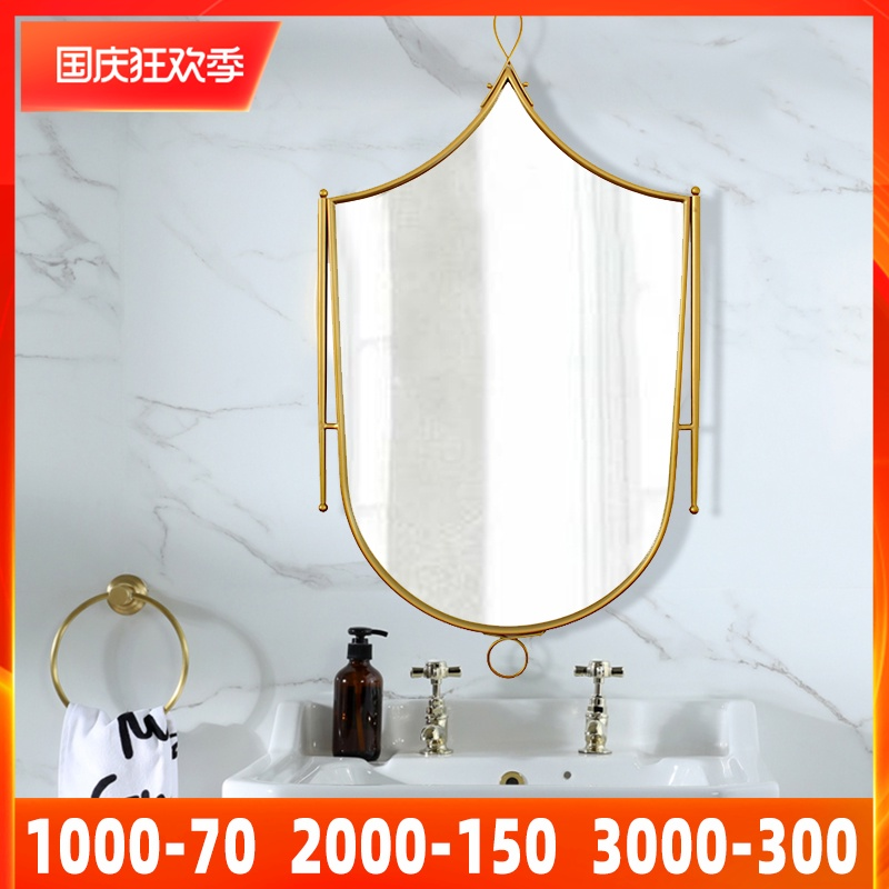 American decorative mirror soft decoration model room living room porch metal sunglasses Nordic restaurant iron wall decoration mirror