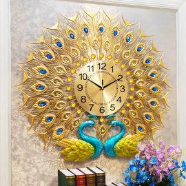 钟表孔雀挂钟客厅家用时尚简约欧式大气静音石英钟创意凤凰表挂墙