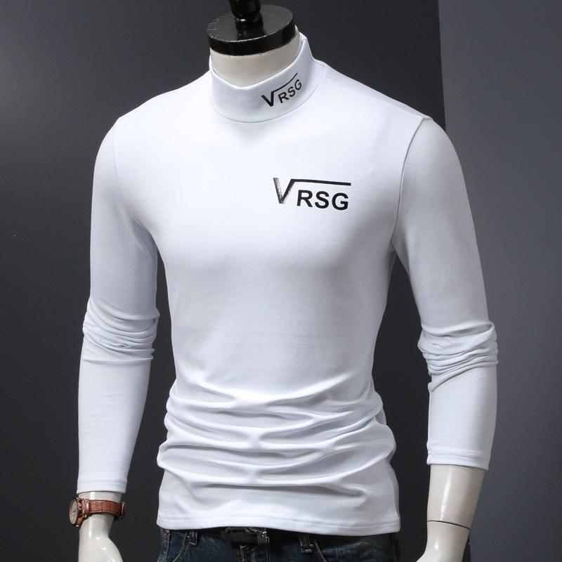 秋冬季男装中半高领打底衫体恤修身小衫潮流白色男士加厚长袖t恤