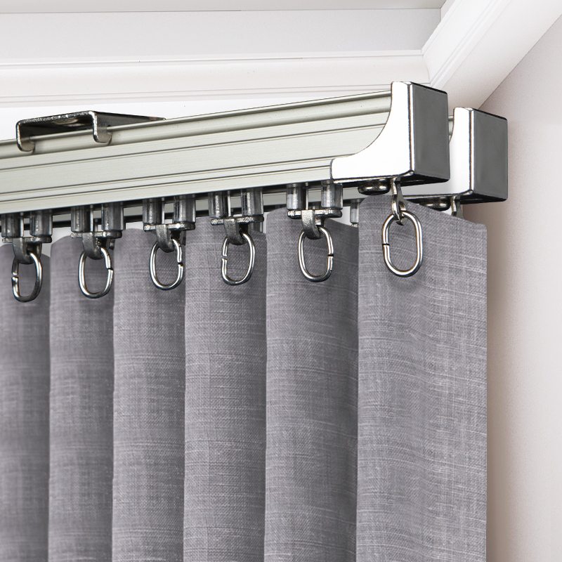 Thickened aluminum alloy curtain track pulley straight rail single and double guide rail sliding top side mounted curtain rod Roman pole