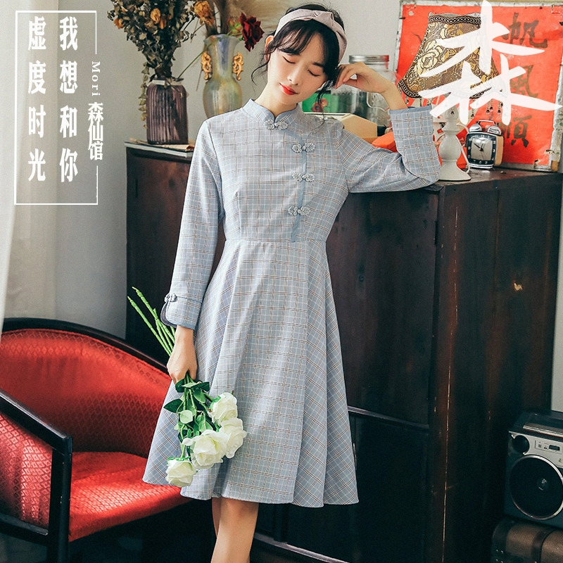 Autumn dress 2019 new Korean style art RETRO clasp small fresh Plaid long sleeve cheongsam dress