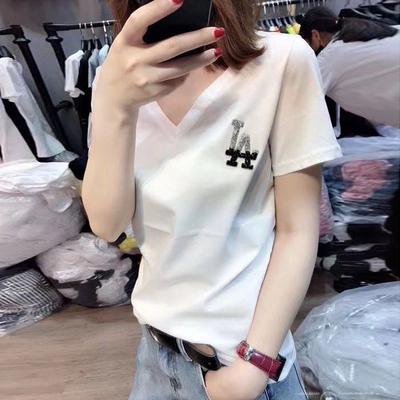 欧洲站2021夏季新款V领烫钻丝光纯棉百搭t恤女韩版白色短袖上衣潮