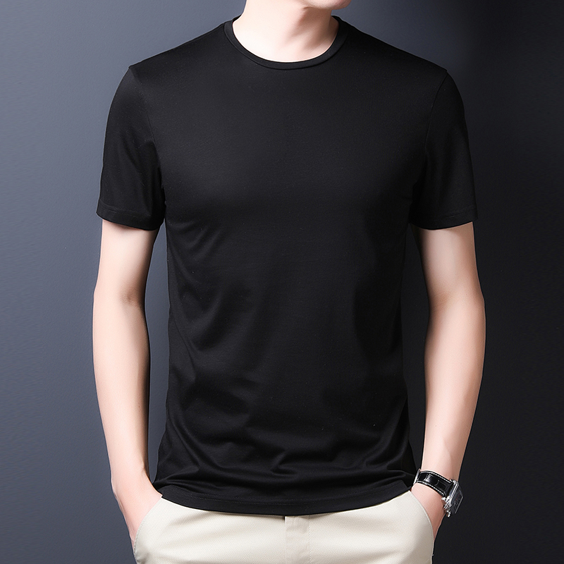 Silk short sleeve T-shirt 2020 summer new slim round neck silky simple solid color trend youth t-shirt for men