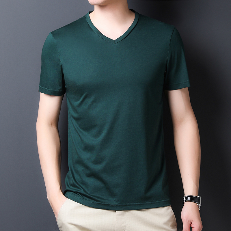 2020 silk T-shirt summer new short sleeve V-neck fit solid color fashion half sleeve simple top mens T-shirt
