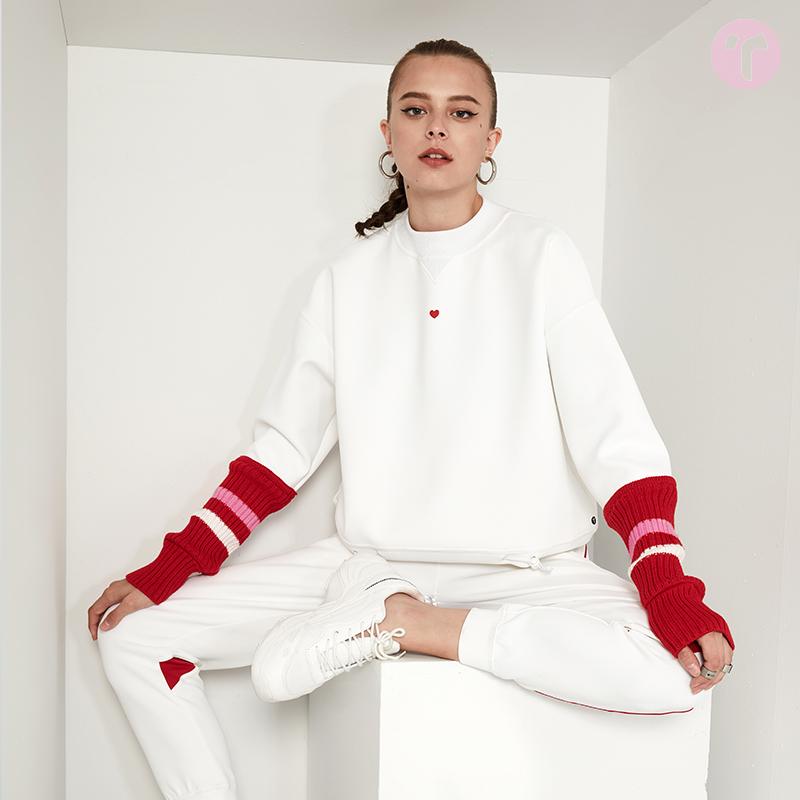 TIFFAFit/TIFFA Fit 红白撞色羊毛袖套拼接宽松白卫衣优惠券
