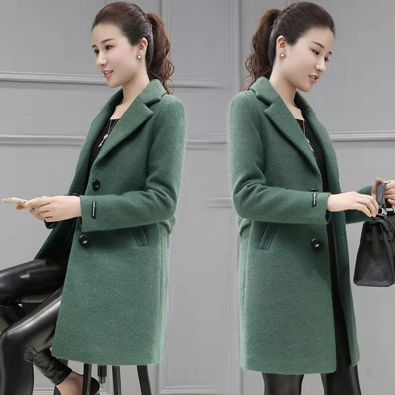 Off season clearance small woolen coat mid long autumn and winter new slim womens black woolen coat thickened