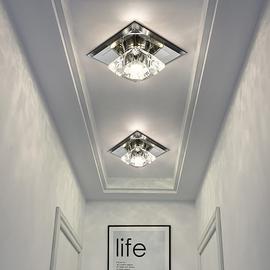 水晶过道灯走廊灯北欧 简约现代进门入户灯玄关灯客厅筒灯led射灯