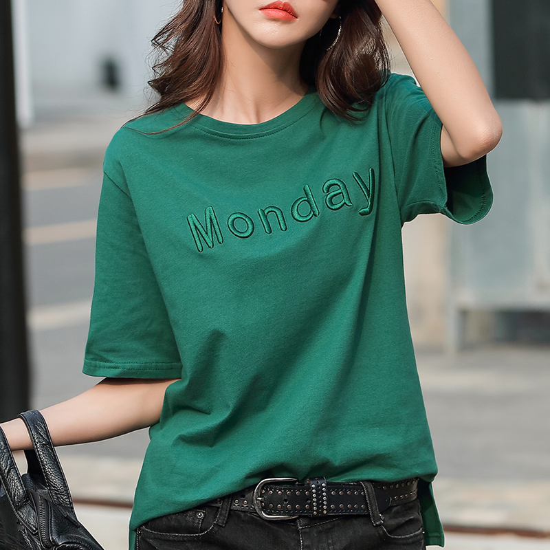 2021 summer cotton t-shirt female short sleeve loose thin lazy style embroidered letter half sleeve round neck Korean T-shirt