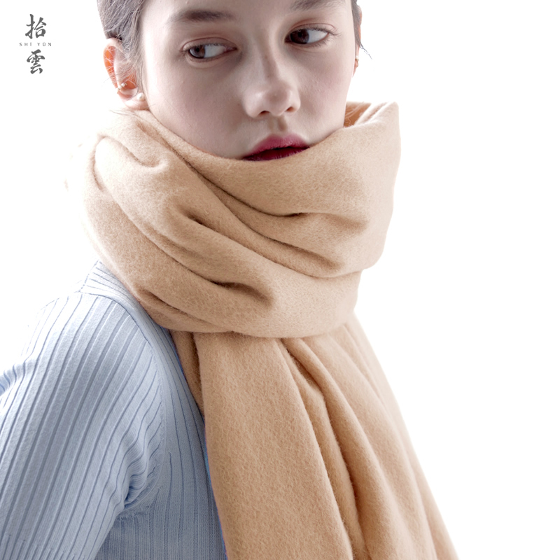 Cloud camel pure wool scarf womens spring and autumn winter thickened long camel naked warm neck tassel