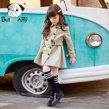Girls' windbreaker 2020 spring new style children's clothing Korean children's double row buckle waist coat spring and autumn medium length