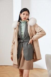 恩裳女装新款狐狸毛领兔皮内胆收腰加厚皮草外套中长款派克服