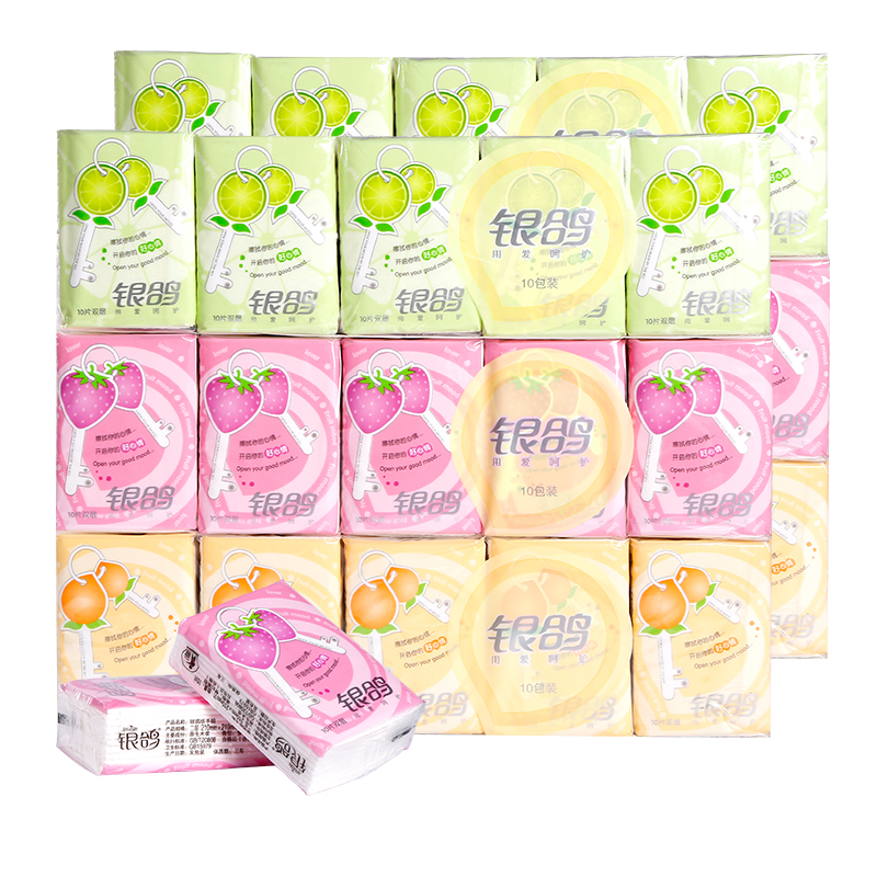 Silver Pigeon summer fruit colorful handkerchief paper small package paper towel portable baby toilet paper 6 pieces 60 packages