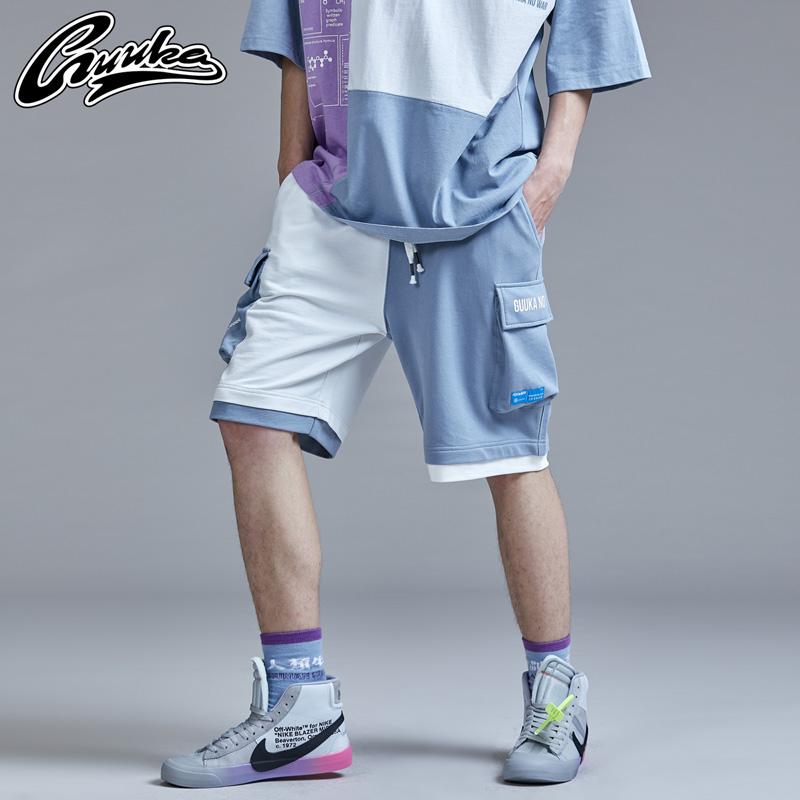 Guuka潮牌夏季工装短裤男纯棉 青少年撞色拼接嘻哈运动五分裤宽松
