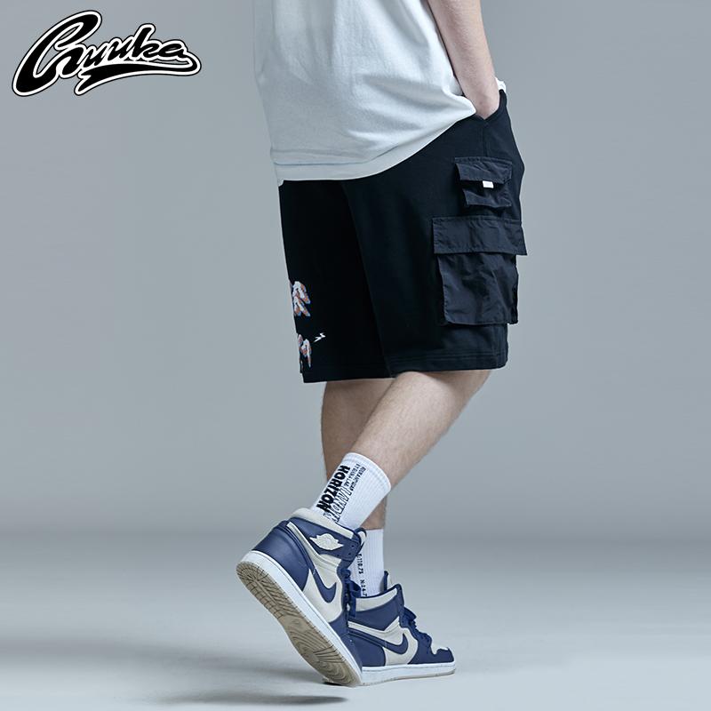 GUUKA黑色多口袋工装短裤男潮牌 学生嘻哈纯棉印花运动五分裤宽松