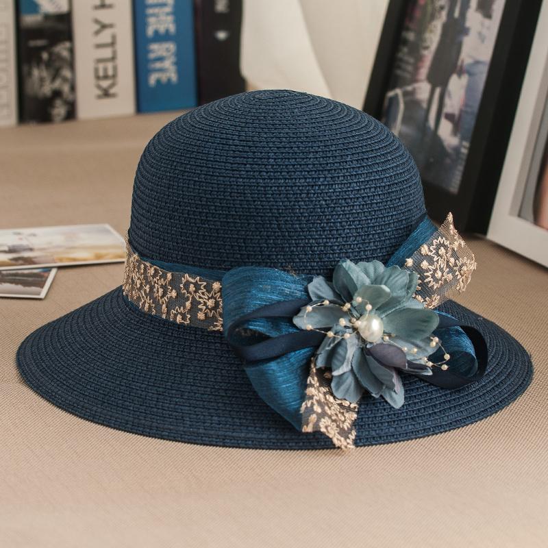 花朵蕾絲草帽子 女夏天韓版沙灘帽防曬遮陽帽海邊太陽帽女士出游
