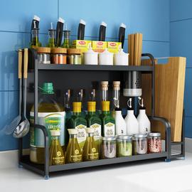 黑色不銹鋼廚房置物架桌面調味料收納架多功能刀架用品家用省空間圖片