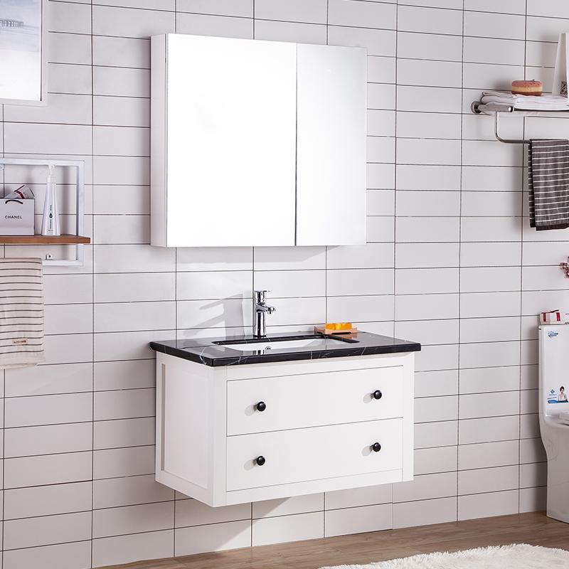 慕乐现代简约浴室柜卫生间实木脸盆洗手盆柜组合北欧洗漱台地中海(用10元券)