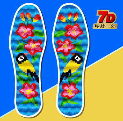 限时2件3折卡通配线彩底属相吸汗十字绣鞋垫