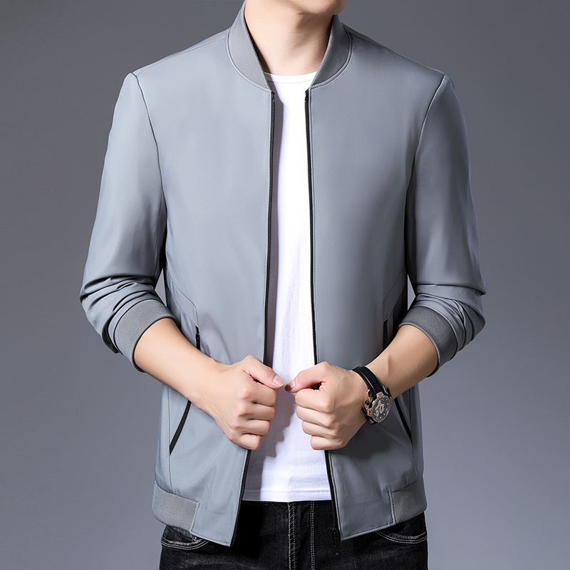 Woodpecker authentic 2021 spring and autumn solid color middle-aged and young mens jacket wrinkle resistant fashion non iron jacket stand collar coat