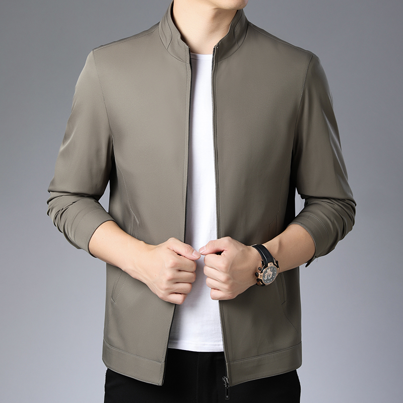 Woodpecker this autumn middle-aged mens stand collar jacket Khaki soft fabric new coat boutique mens wear