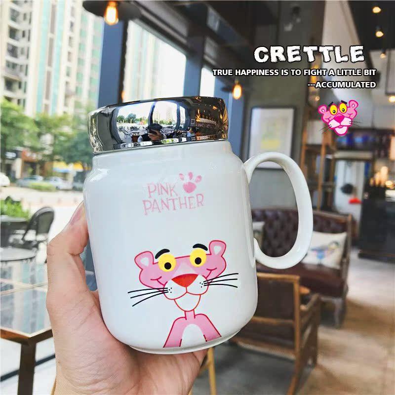 新款粉红豹软妹马克陶瓷水杯可爱卡通少女心学生手柄镜盖掌柜推荐
