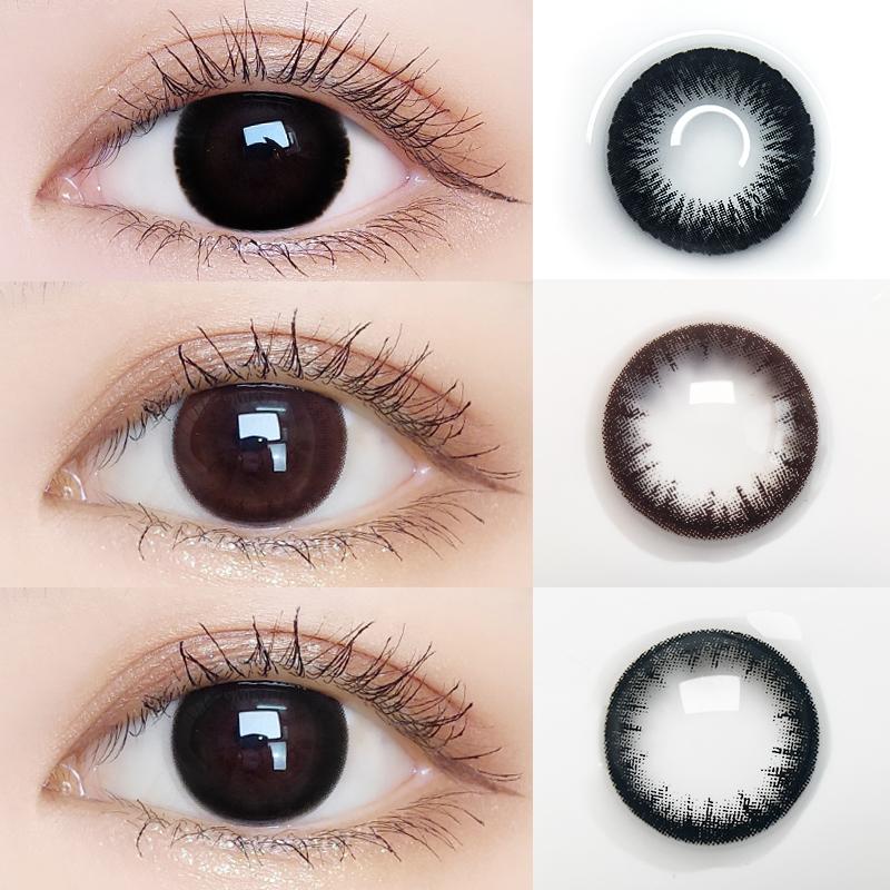 美瞳年抛女小直径自然黑色大隐形近视眼镜半年抛月抛正品大牌官网