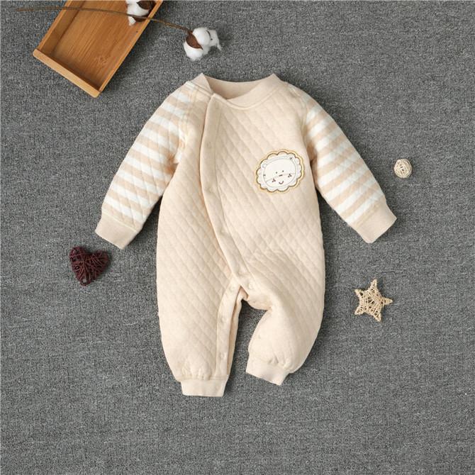 生儿和尚服无骨缝初生宝宝秋装 保暖连体衣服纯棉夹棉新 婴儿秋冬季