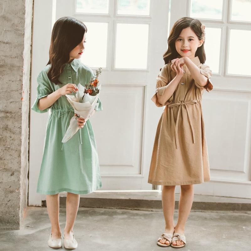 亲子连衣裙夏季新款2020双胞胎姐妹裙衬衫领收腰女童公主裙纯色10