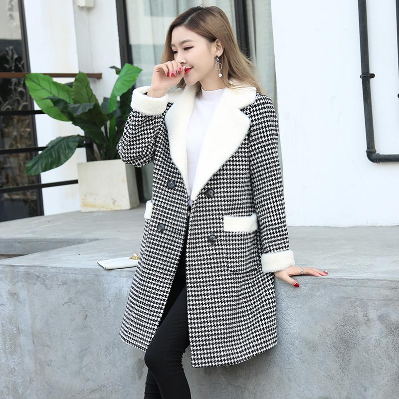 毛呢外套女春秋款大码新款显瘦韩版宽松中长款千鸟格加厚呢子大衣