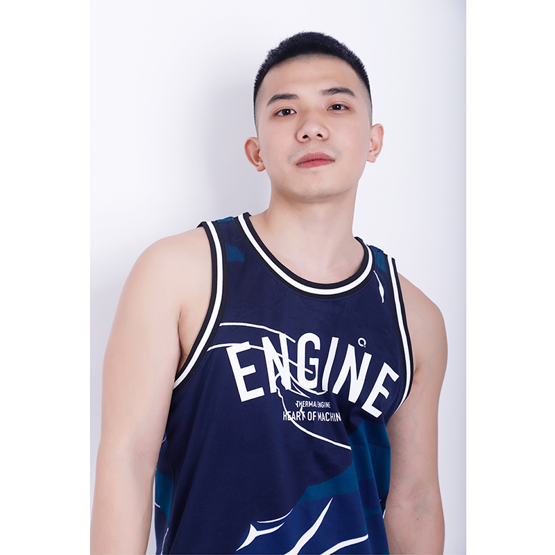 Thermal engine tank top mercerized cotton print loose sports fitness personality mens Vest fashion