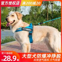 中大型犬金毛专用反光狗狗防爆冲胸背带拉布拉多边牧背心式胸背带
