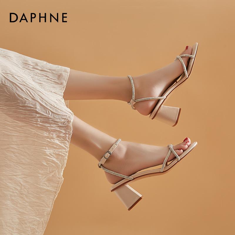 达芙妮水钻仙女风凉鞋新款高跟鞋