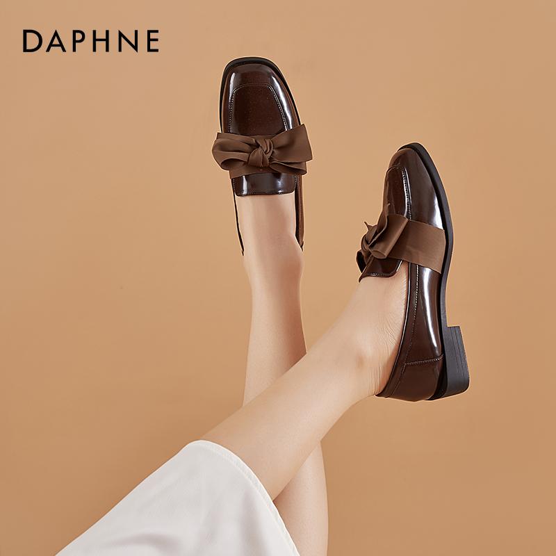新款一脚蹬鞋小皮鞋英伦风2020达芙妮蝴蝶结乐福鞋女平底单鞋秋季