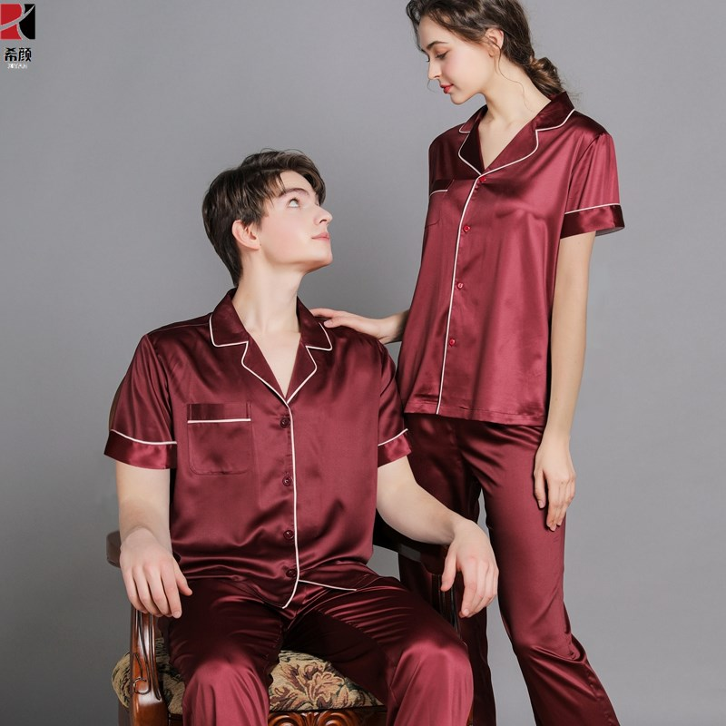 Couple pajamas womens short sleeve ice silk two piece set spring and summer thin real silk mens wine red half sleeve trousers home clothes