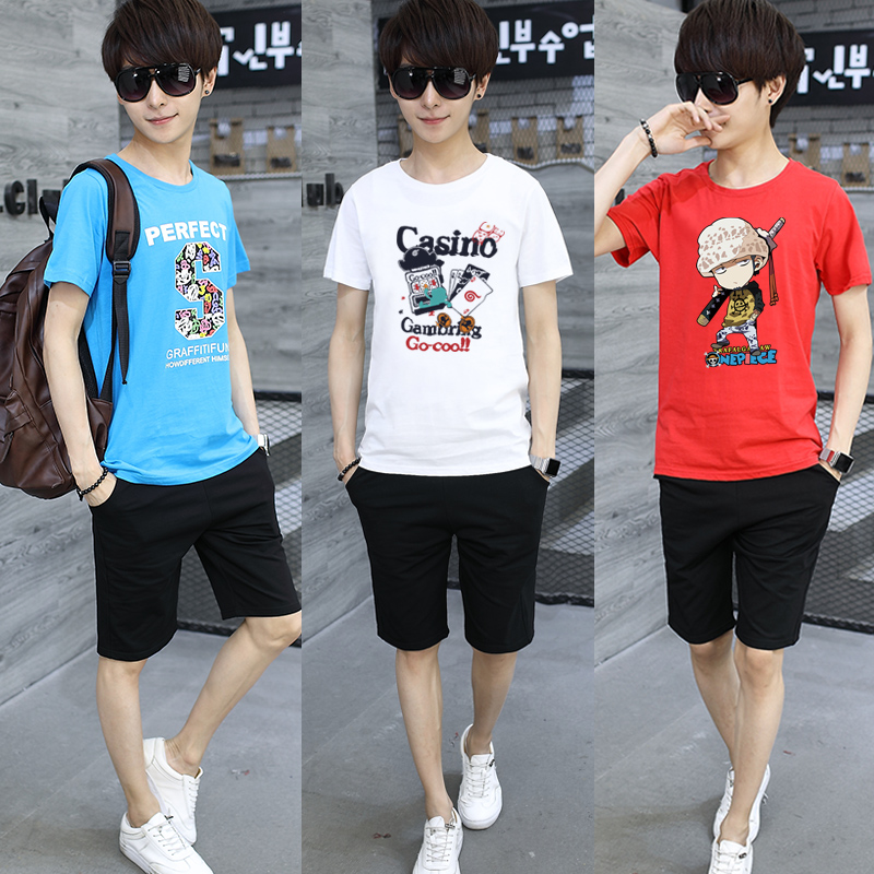 Youth short sleeve T-shirt boys 13 junior middle school students a set of 10-15-year-old boys' summer clothes 12 pure cotton