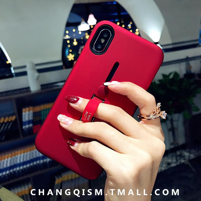 (用2元券)韩国情侣支架 苹果x手机壳纯色iphone7保护套8x指环6plus女款防摔