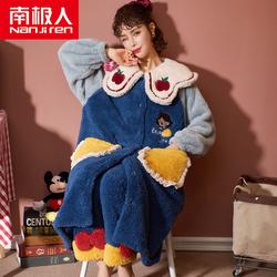 南极人秋冬季长款法兰绒珊瑚绒睡衣