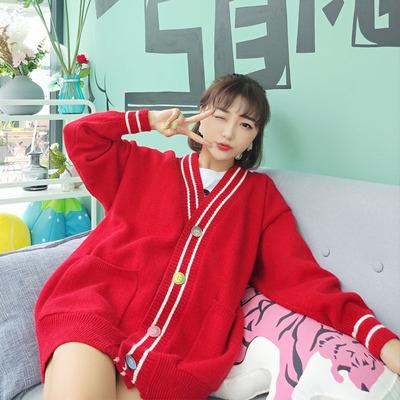 芙诗琪2019新款开衫女毛衣秋装韩版宽松学生百搭很仙的针织衫外套