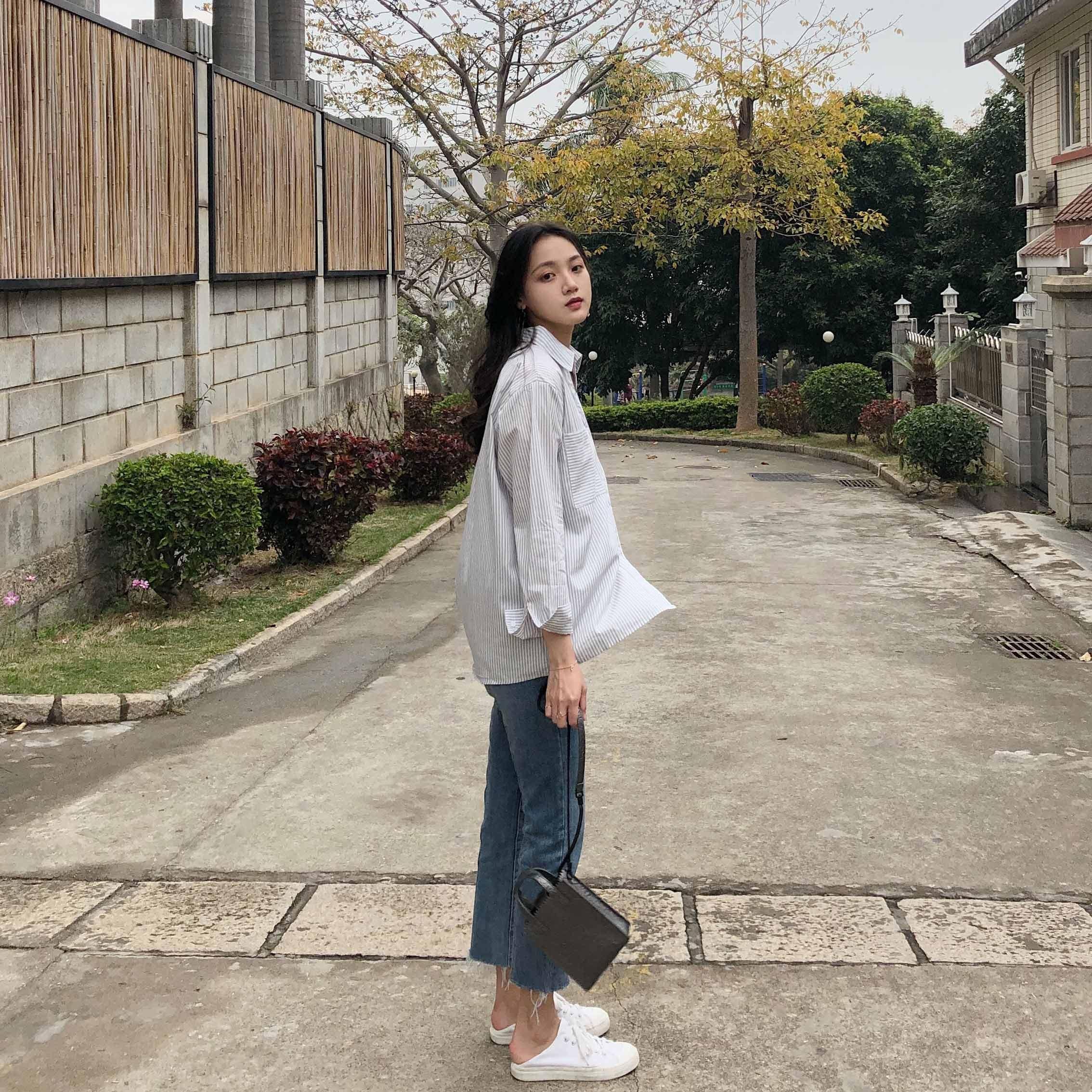 2018春装立秋新款女装新品条纹衬衫宽松长袖韩版港味慵懒上衣